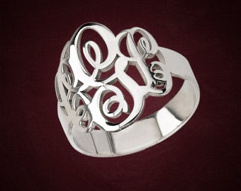 Silver Monogram Ring - 3 Initial Monogram Ring In Silver - Personalized Monogram Ring For Women Gift - 100% Handmade Gold Monogram Ring R004