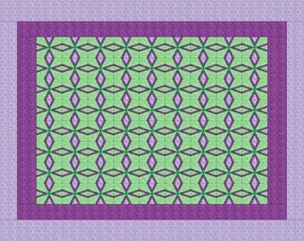 PDF Quilt Pattern - Purple Manor - Instant Download - Quilt a Day Pattern, Modern Quilting, Easy Quilt Pattern, PDF Quilt Blocks