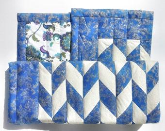 Blue and Gold Herringbone Quilt