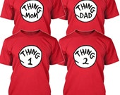 Thing 1 2 3 T-shirt Cat in the Hat MOM DAD Things Costume Shirts Toddler Baby Youth Adult sizes S-3XL