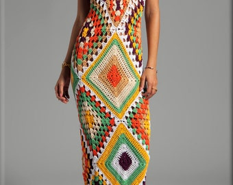 Crochet Vintage-Inspired 70s Granny Squares Multi-Color Maxi Dress- Made to Order 20% Discount
