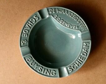 Ashtray Schade & Buysing schiedam. Teal pottery.