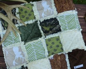 Baby Rag Quilt -BUCKS, TRACKS & RUBS™ - Exclusively from OCKBaby - Camo, bucks, deer track, woodgrain, hunting Baby Bedding, camo photo prop