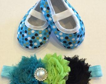 Baby Girl's Turquoise Polka dot Crib Shoes And Matching Headband Set