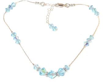 Swarovski Crystal Anklet Sterling Silver AQUAMARINE BLUE Bali Handcrafted