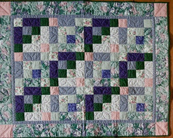 Purple Roses and Lilacs Baby Quilt