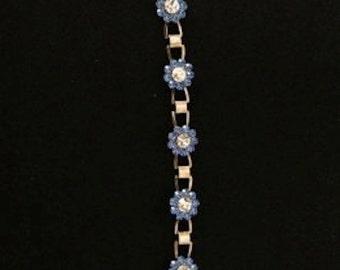 Vintage Blue Rhinestone Flower Bracelet