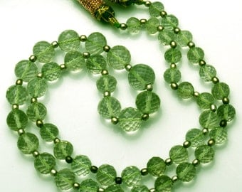 Natural 19 Inch Natural Super  Green Amethyst  Micro Faceted Round balls Beads  Necklace 6.5 TO 10 MM