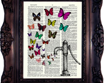 Butterflies Collection. Vintage Well Pump Fountain print.  Art print on Book Page. Vintage dictionary print. Butterflies Print.Code:263