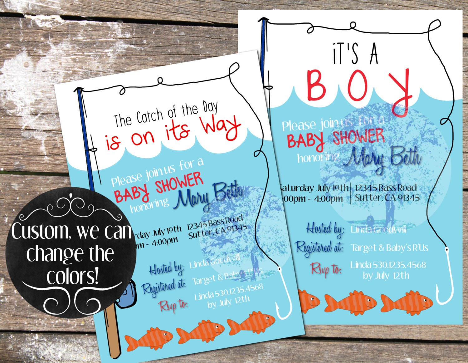 custom fishing baby shower invitation fishing by blueoakcreations
