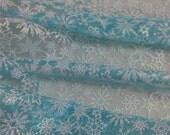 Elsa cape fabric, Frozen fabric, Glitter Snowflake blue organza for Queen Elsa costume Christmas Gift