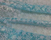 Elsa cape fabric, Frozen fabric, Glitter Snowflake blue organza for Queen Elsa costume Christmas Gift