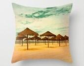 beach pillow, beach photography, sun umbrellas, vacation, sun, summer, sea, home decor, holiday, yellow, green, brown, natural colors, ocean