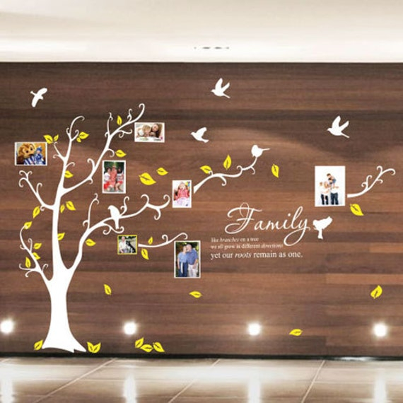 Multi photo frame tree bird wall quote stickers wall decals - Arbre genealogique stickers ...