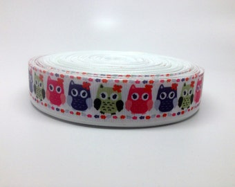 1 Inch Pink, Purple, Green Spring Owls Grosgrain Ribbon