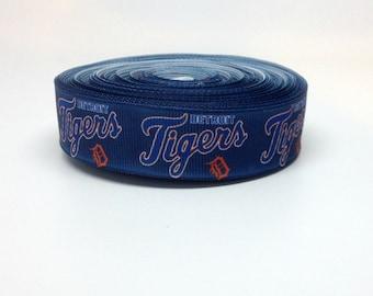 7/8 Detroit Tigers Grosgrain Ribbon
