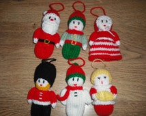 Four Hand Knitted Christmas Tree Decorations - Choose from Santa/Elf/Mrs Claus/Soldier/Snowman/Choirboy