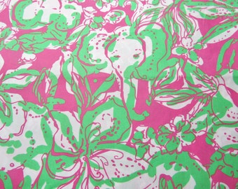 Lilly Pulitzer fabric Hotty Pink I forgot my Trunks 9 X 18 inches  or 18 X 18 inches. 2 sizes available.