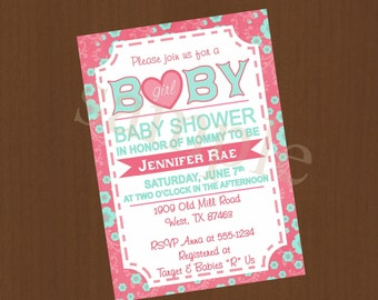 Baby Shower Girl Party Invitation - Pink Posh Vintage Digital or Printed