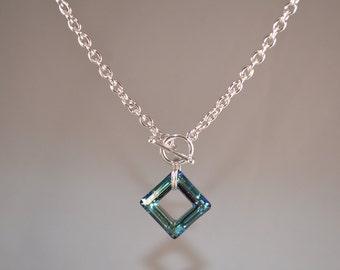 Swarovski Bermuda Blue Square Toggle Necklace