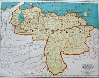 VENEZUELA VINTAGE Map from 1942 Map of Venezuela Neat Collectible Atlas Map (m49)