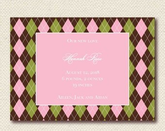 Girl birth announcement pink, brown and green argyle (BA1207_A) digital download or printed