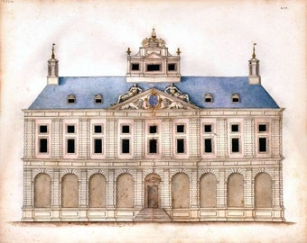 Elevation of Palace anonymous Spanish architectural drawing c1770-1800