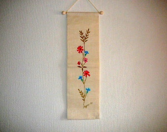 Vintage Hand Painted Wall Decor Floral Wall Hanging Blue Red Flowers Signed @64
