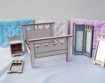 """Heart  Dolls House Bedroom Set Laser Cut Kits """"The Collection"""" 1:12"""