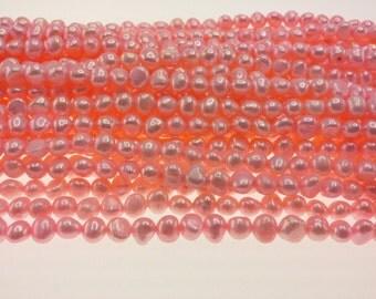 Freshwater Cultured Pearls:  Bubblegum Pink Strand