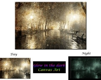Glow in the Dark Canvas Art - Night Cityscape Street Light - Ready to Hang