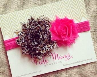 Baby Headband: The Eva - leopard and pink shabby flowers