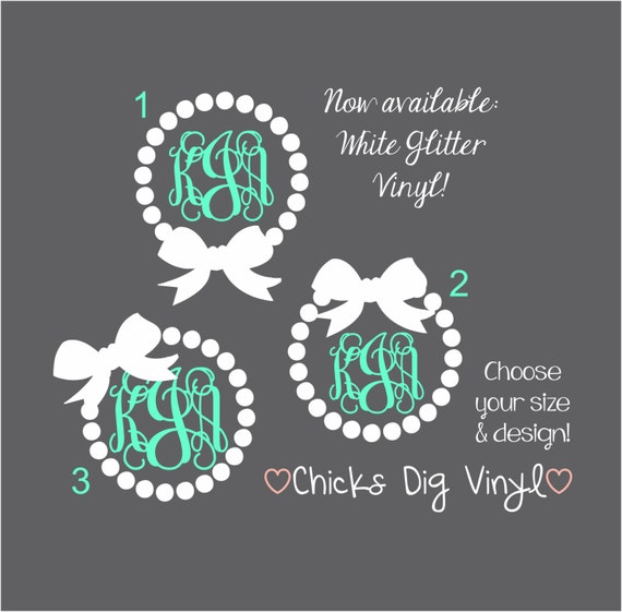 Items Similar To Pearls Amp Bow Monogram Decal Choose Your