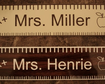 "Teacher Name Plate 2"" x 8"" inches - Personalized, Laser-Engraved"