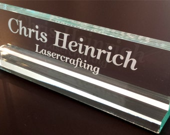 Glass colored acrylic Office Name Plate Personalized