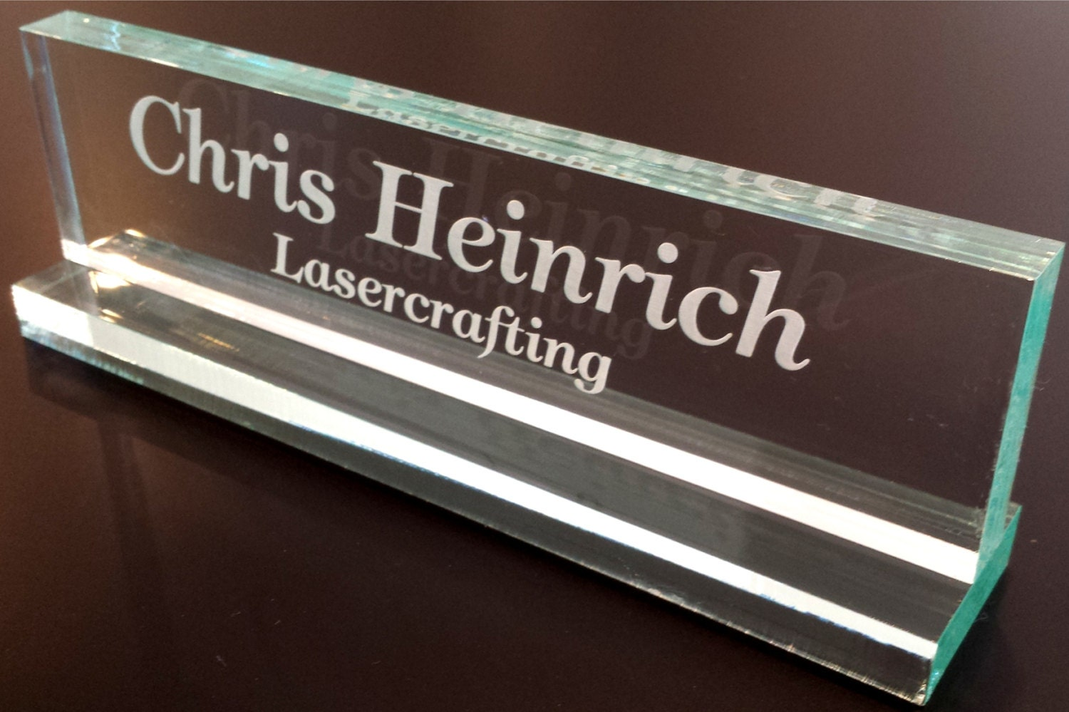 Office Name Plates: Glass Colored Acrylic Office Name Plate Personalized