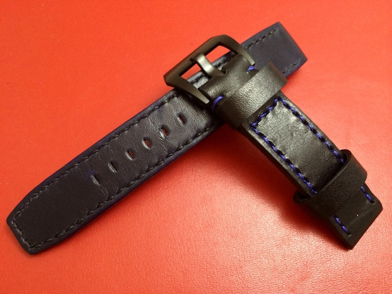 Handmade Genuine Leather strap for Rolex , IWC - 20mm lug width watch band (Perfect with latest Rolex GMT black & blue Bezel)