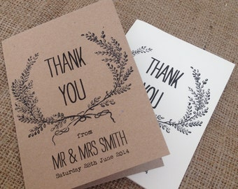 1 x personalised Rustic/Vintage/Shabby Chic Laurel Thank you card/envelope for weddings and all other occasions
