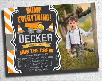 Construction Birthday Invitation, first, second, birthday invite, birthday party, construction birthday, dump truck , Digital file only