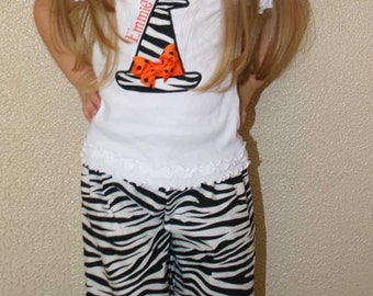 Witches Pant Set, Halloween Pant Set,Personalized Shirt with Ruffle Shorts, Capri, or Pants