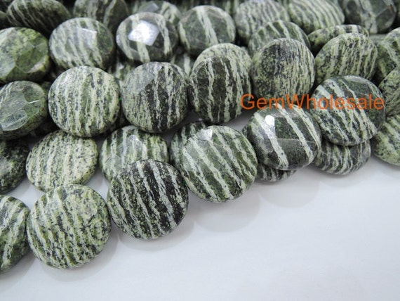 15 5 16mm natural green zebra jasper coin faceted high. Black Bedroom Furniture Sets. Home Design Ideas