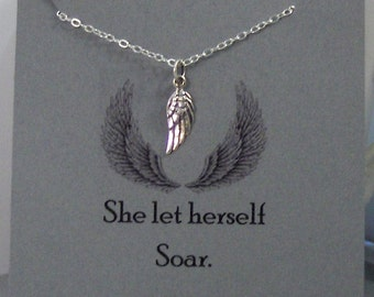 She Let Herself Soar,Wing,Jewelry,Poem,Quote,Friend,Friendship Necklace,Friends,Necklace,Charm,Angel,Angel Wing,Angel Wing Necklace,Angel