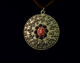 Silver Medallion with Rose on Leather Cord Necklace