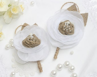 Burlap Boutonniere of Groom Weding Rustik Bout with white Flower Custom Made by Burlap