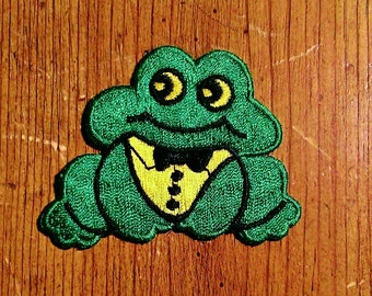 Vintage 1970's Frog In A Tuxedo Embroidered Patch