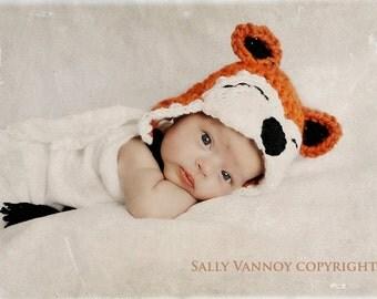 Crochet Baby Fox Hat, Fox Hat with braids, Photo Prop
