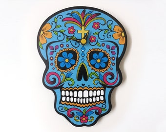 Blue Sugar Skull - Day of the Dead -Dia de Los Muertos - Calavera - Wall Clock