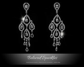 Bridal Earrings, Swarovski Crystal Chandelier Earrings, Cubic Zirconia Chandelier Earrings, Bridal Chandelier Earrings, Bridal Jewelry
