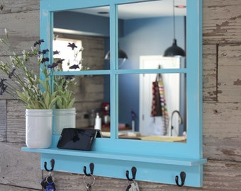 Rustic Country Chic Antique Bronze Key Hook Mirror with Shelf - Distressed Aqua