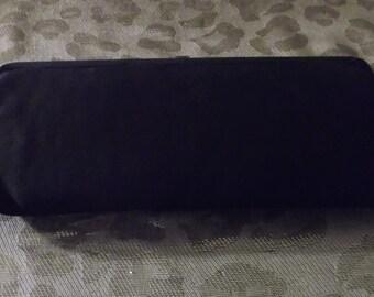 1960's Vintage Black Satin Evening Bag